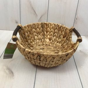 Other - NWT Tan Woven Basket with Wooden Handles
